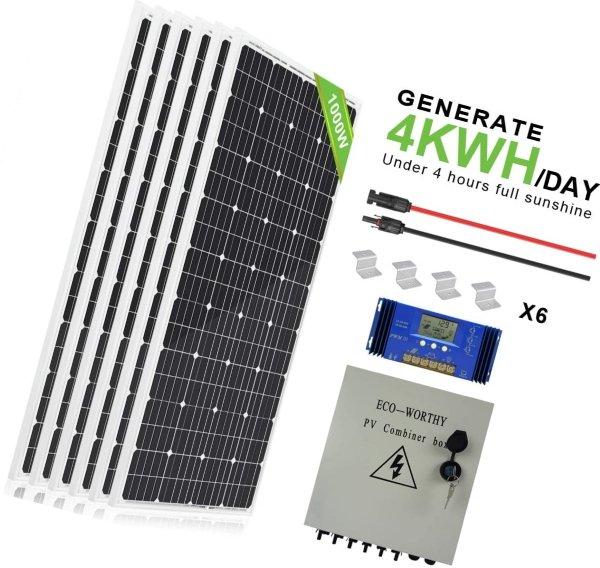 eco-worthy 1000 watt 1kw 12 volt solar panel off grid
