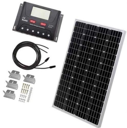hqst 100 watt 12 volt monocrystalline solar panel kit with 30a pwm lcd