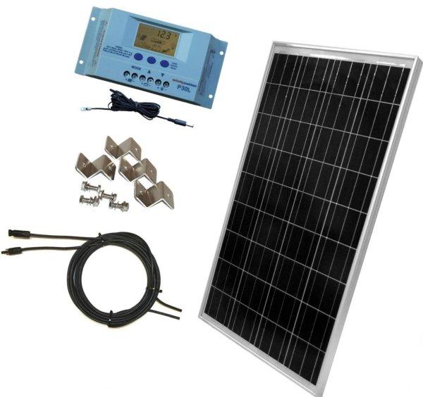windynation 100 watt solar panel off-grid rv boat kit
