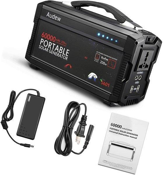 audew 220wh/60000mah portable battery generator power station