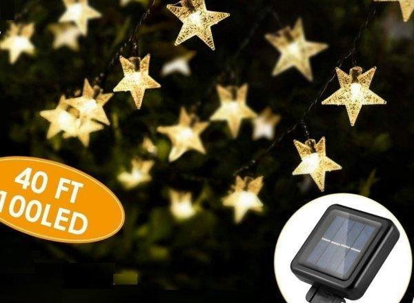 keshi 40ft 100led solar star string lights - solar powered string lights