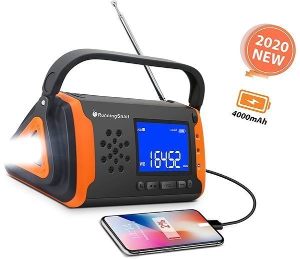 swiss safe products rechargeable flashlight with solar power & hand crank