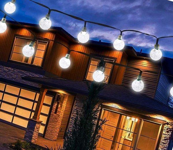 vivii solar string light 20 ft 30 led crystal ball waterproof  - solar powered string lights