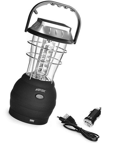 agptek solar lantern, 5 mode hand crank dynamo - solar camping lights