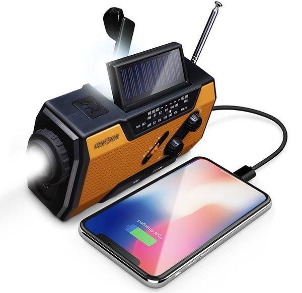 fospower emergency solar hand crank portable radio - solar powered radio
