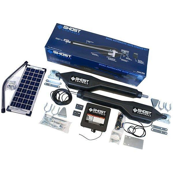 ghost controls tds2xp heavy-duty solar dual automatic gate opener kit - solar gate opener