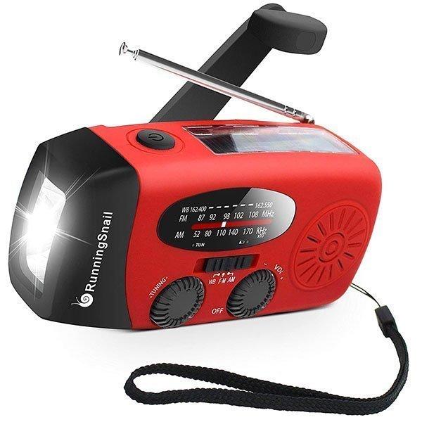 runningsnail emergency hand crank self powered am/fm noaa solar weather radio - solar powered radio