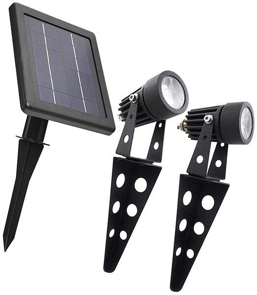 mini 50x twin solar-powered cast aluminium warm white led spotlight - solar spot lights