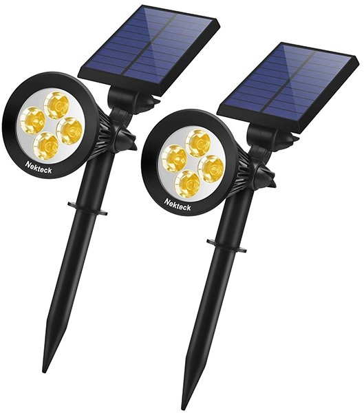 nekteck 2 pack solar lights 2-in-1 outdoor solar spotlights - solar spot lights