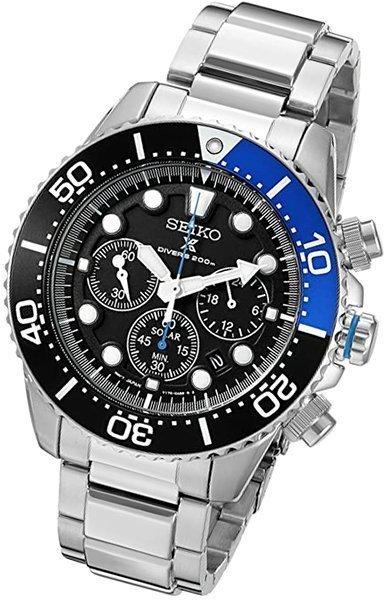 seiko men's ssc017 prospex analog japanese quartz solar stainless steel dive watch - solar watch