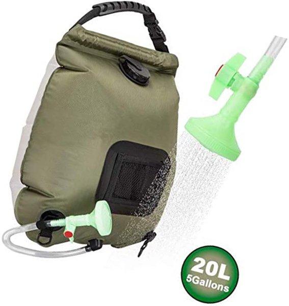 viglt portable shower bag for camping 5 gallons/20l solar shower - solar shower