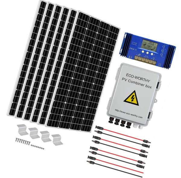 eco-worthy 1000 watt 1kw 24 volt solar panel off grid - solar panels for shed